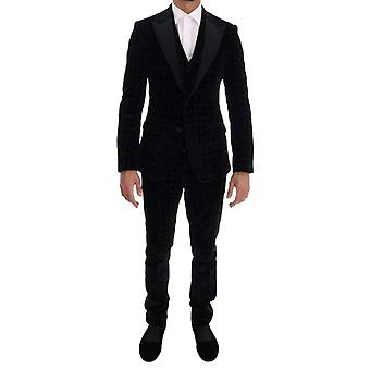 Dolce & Gabbana Black Velvet Slim Virágos hímzett öltöny -- KOS1900592