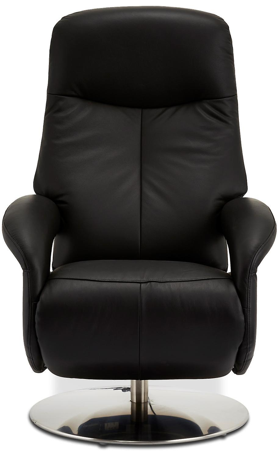 Furnhouse Black Leather Recliner Bull, 1 Seater, 79x85x115 cm