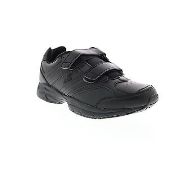 Avia  Womens Black Leather Low Top Walking Athletic Shoes