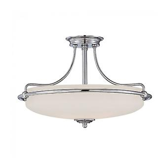 Griffin Ceiling Light, Polished Chrome And Glass, 4 Bulbs