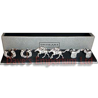 Set of 3 Horse Riding Cufflinks by Onyx Art - Gift Boxed