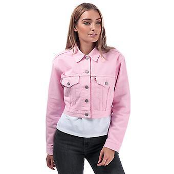 Women's Levis Cropped Trucker Jacket in Pink