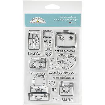 Doodlebug Clear Doodle Stamps - I Heart Travel