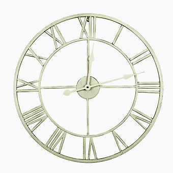 Charles Bentley indendørs væg runde minimalistisk skelet ur med romertal Antik creme Stor 80cm