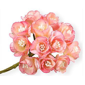 72 Stora rosa papper Cherry Blossom Blommor