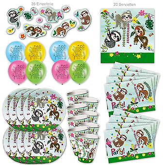Luiaard Party Set XL 88-stuk voor 8 gasten Party Theme Party Birthday Decoration Party Pakket