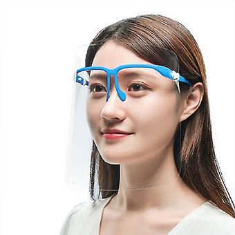 (Pack of 100) (Blue) Full Face Shield Visor Glasses Protection Mask PPE Transparent Clear Plastic