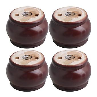 4pcs Brown Wood Lantern Furniture Foot Leg Feet 8.5*6cm