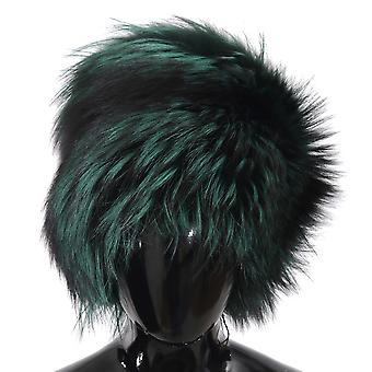 Green black silver fox fur russian cossack winter warm cap
