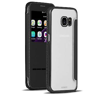 Transparent Book Case with Bling for Samsung Galaxy S7 Edge TPU Glittering Black