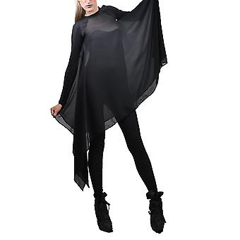 Women's Crew Neck Edgy Draped Chiffon Long Sleeved Top