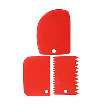 3pcs/ Set Reusable Plastic Cake  Edge Side Scraper Red