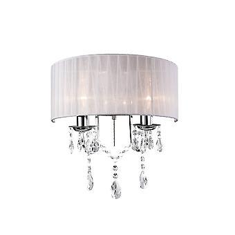 Lampa ścienna przełączona z białym odcieniem 2 Jasno polerowany chrom, kryształ