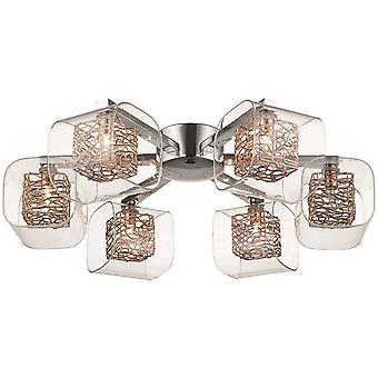 6 Light Flush Multi Arm Mesh Ceiling Light Chrome, Copper and Glass, G9