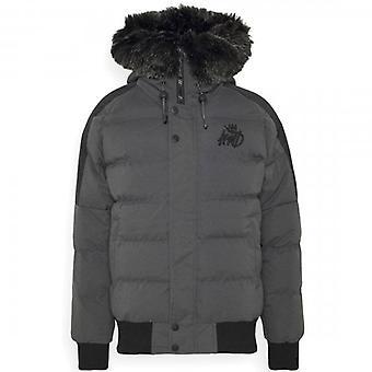 Kings Will Dream Branson Dark Grey Fur Hooded Puffer Jacket