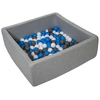Hoyo de bola cuadrada 90x90 cm con 150 bolas blancas, azules y grises