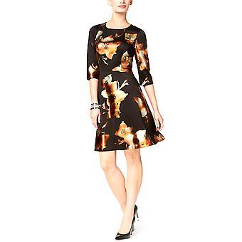 Eci   Metallic-Print Fit & Flare Dress