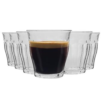 Duralex Picardie Shot Glass Espresso Cups - 90ml Drinking Glasses - Clear - Pack of 6