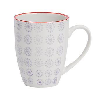 Nicola Spring Hand-Printed Tea and Coffee Mug - Japanese Style Porcelain Latte Mugs - Purple - 360ml