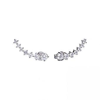Diamonfire Silver White Zirconia Elongated Earrings E5625