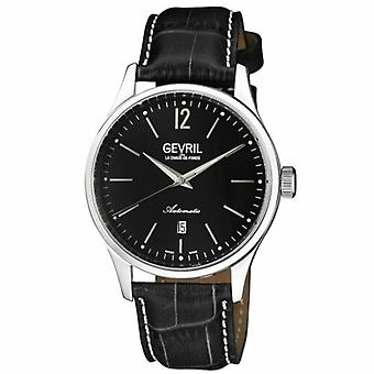Gevril Men's 4257A Five Points Automatic Black Dial Black Leather Date Watch