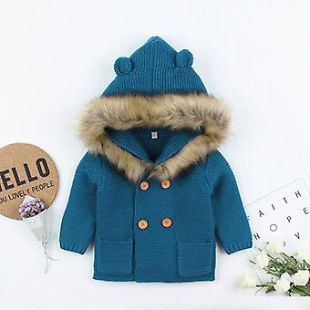 Winter Warm Newborn Baby / Knit Hooded Coat- Fur Collar Jacket Clothes, Thick