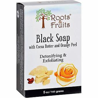 Bio Nutrition Inc Roots & Fruits بار Soap, أسود مع زبدة الكاكاو وقشر البرتقال 5 أوقية