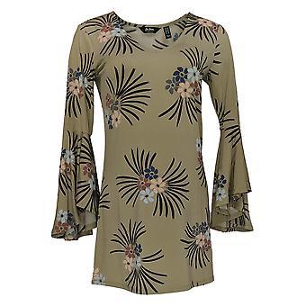 Du Jour Women's Top Print V-Neck Bell Sleeve Knit Tunic Green A293732