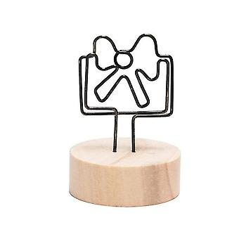 Creative Round/square, Wooden Photo Clip Memo Name Card Holder