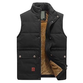 YANGFAN Men's Stand Collar Plush Vest Pocket Solid Color Waistcoat