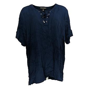 BROOKE SHIELDS Timeless Women's Top X LTimeless Lace-Up Neck Blue A349673