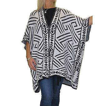 Women's Winter Open Front Soft Fluffy Kint Shawl Poncho Ladies Aztec Oversized Casual Warm Square Cape Wrap 8-20