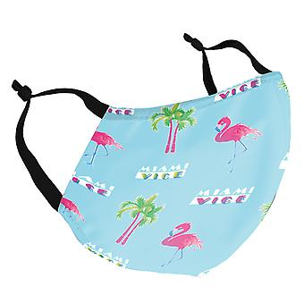 Miami Vice Flamingo Palm Tree Pattern Adult Reusable Fabric Face Mask