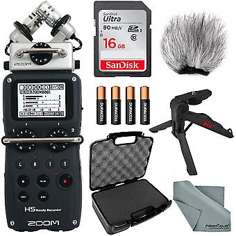 Zoom h5 handy recorder bundle w/ case + remote + windscreen + xpix tabletop/handgrip tripod + fibertique cleaning cloth