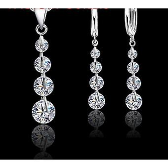 925 Sterling Silver Pendant Necklaces Hoop-earrings Set  Fashion Jewelry