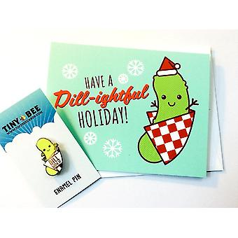 Funny Dill Pickle Enamel Pin & Christmas Card Bundle