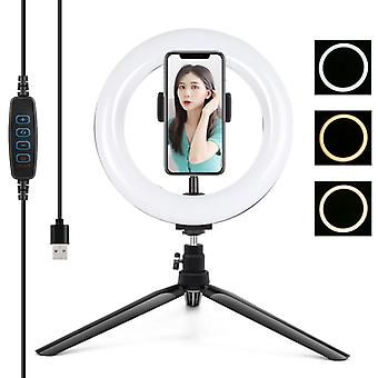 PULUZ 7.9 inch 20cm Light+ Desktop Tripod Mount USB 3 Modes Dimmable Dual Color Temperature LED Curved Light Ring Vlogging Selfie Photography Video Li