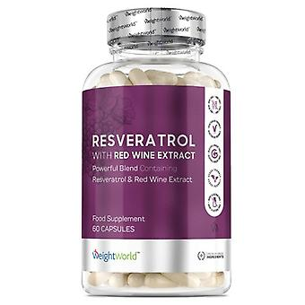 Resveratrol Capsules 500mg - Trans-Resveratrol Anti-Oxidant Enriched Pills For Boosting Immune System, Red Wine Extract - 60 Vegan-Friendly Tablets