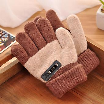 Winter Thicken Warm Cotton Wool Knitted Full Finger Mittens Soft Glove