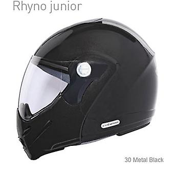 Caberg Rhyno Junior Metal Helmet Gloss Black Integrated Sun Visor ACU goedgekeurd