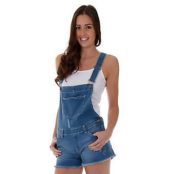 Ladies denim dungaree shorts - mid wash