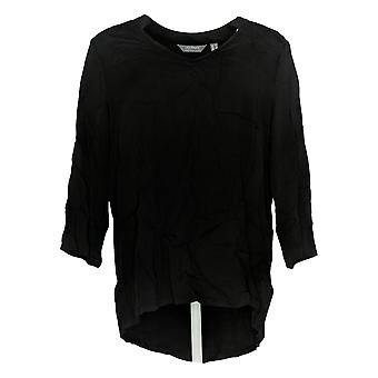 Lisa Rinna Collection Women's Top Stretch Open-Neck Blouse Black A341679