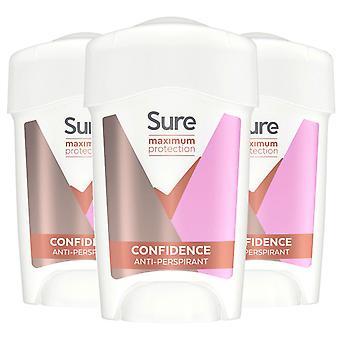 3x of 45ml Sure Women Maximum Protection Confidence Anti-Perspirant Cream