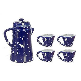 Dolls House Blue Spot Coffee Pot & Mugs Miniature Kitchen Accessory