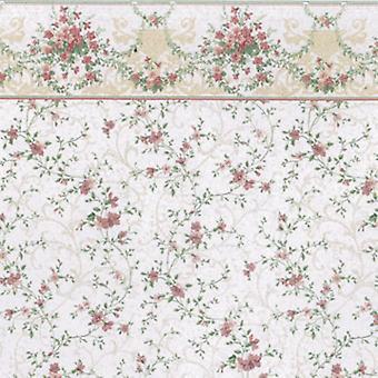 Dolls House Sonata Pink Miniature Print Wallpaper 1:12 Scale 3 Sheets