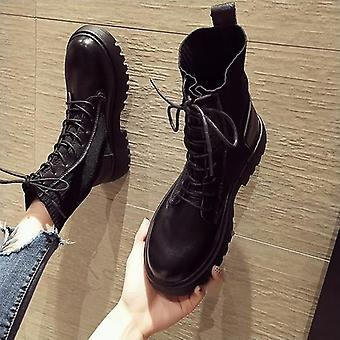 Autumn Motorcycle Boots Thick Heel Platform Shoes Slip-on Round Toe Boots