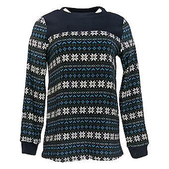 Cuddl Duds Women's Sweater Fleecewear Stretch Crew Pullover Blue A381759