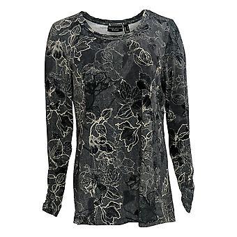 Susan Graver Women's Top Weekend Printed Cotton Modal Tunic Gray A367766