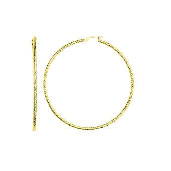 14K geel goud diamant geslepen ronde ontwerp Hoop Earrings, Diameter 60mm