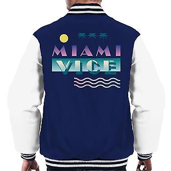 Miami Vice Logo With Sun And Palm Trees Men's Varsity Jacket